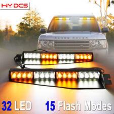 "34"" 32 LED Strobe Lights Emergency Hazard Warning Visor Dash Bar Amber White Y"