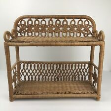 Vintage Rattan Wicker Wall Hanging Table Shelf 2 Tier Brown Boho Decor