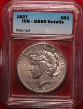 1927 Philadelphia Mint Silver Peace Dollar ICG Graded MS 60