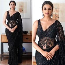 Designer Bollywood Saree Net Ferbric chain stich work Party wear Sari Blouse