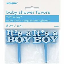 Plastic Blue Its a Boy Baby Shower Cupcake Toppers Pack of 8