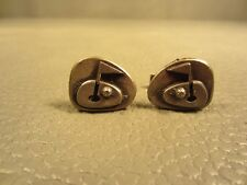 Vintage Mid Century Modern Metzke Golf White Gold Plated Cuff Links