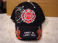 FIRE DEPARTMENT FIRST IN LAST OUT BASEBALL CAP HAT #4 ( BLACK )