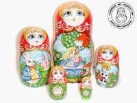 Alice in Wonderland Nesting Doll 5 pcs, Matryoshka 6,2 in.