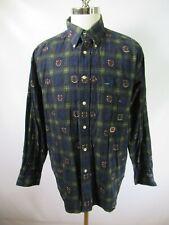 E8173 VTG TOMMY HILFIGER Print Long Sleeve Plaid Shirt Size L