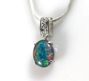 Genuine Australian Sterling Silver Opal Necklace Pendant, 10x8mm Opal, Jewelry