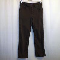 "NYDJ Straight Jeans Women's Size 4P Brown Petite 26 1/2"" Inseam"