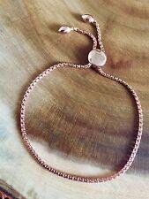 925 Sterling Silver Adjustable Rose Gold Circle Slider Bracelet