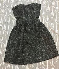 NWT Gap Bustier Textured Party Dress Grey Black Metallic Dress Sz 16 XL