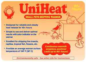 Uniheat 40 Hr Shipping Warmer Heat Pack Tropical Fish Corals Reptiles Insects