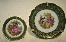 """Miniature """"Courting Couple"""" French Limoges Plates-Meissner & S A w/Stands"""