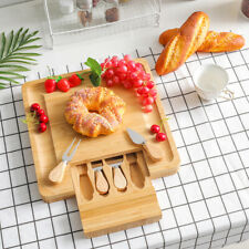 More details for natural bamboo cheese board square cutting serving board 4 cheese knives