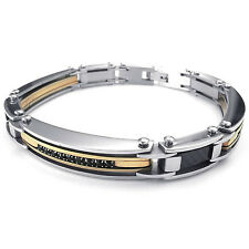 MENDINO Men's Stainless Steel Bracelet Cuff Chain Link Bangle Silver Gold Tone