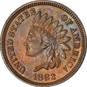 1882 Indian Cent Proof Choice PR Superb Eye Appeal Strong Strike