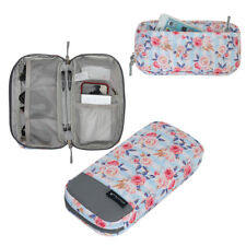 White Rose Pattern Cord Organizer Roomy Cable Case Phone Accessories Storage Bag