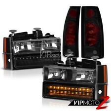 1988-1993 Chevrolet C10 Pickup Truck Black 10PC Brake Tail Lights LED Headlights