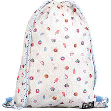 O'NEILL WOMENS/GIRLS GYM BAG.WHITE DOUGHNUT CAKE DRAWSTRING SACK 7W 4038 1940