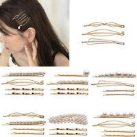 3Pc/Set Pearl Metal Hair Clip Hairband Comb Bobby Pin Barrette Hairpin Headdress