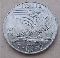 """50 Centesimi regno D'Italia tipo """"Impero"""" 1941 XIX SPL - n 1043"""