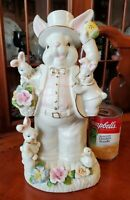 """Vintage Easter Bunny Musical Figurine Plays PETER COTTONTAIL 11"""" tall"""