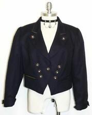 "PERRY BLUE WOOL Coat JACKET German Designer SHORT Dress Winter 42/10 12 M B42"""