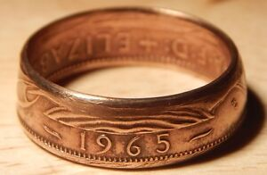 Coin Ring  - Crafted from British Half Penny - make a custom order