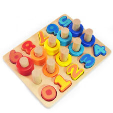 Wooden Numbers Puzzle Board Block Shape Sorter Educational Learning Toddler Kids