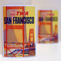 """#3217 Fly TWA San Francisco Vintage Airline Air 3x4"""" Luggage Label Decal Sticker"""