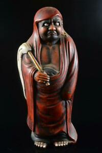 #828: XF Japanese Old Kutani-ware Daruma sculpture ORNAMENTS object art work
