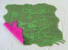 Plaid couverture Bébé au crochet coton vert doublée polaire rose fait main neuve