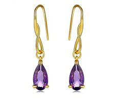 Water Drop Earrings 100% Natural Amethyst 925 Sterling Silvrover 14K Yellow Gold