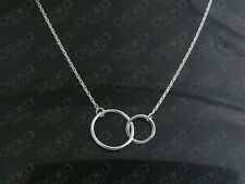 Genuine 925 Sterling Silver Infinity Eternity Love Karma 2 Circle Ring Necklace
