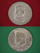 MAKE OFFER $1.00 Face Value Ben Franklin & 1964 Kennedy 90% Silver Junk Coins