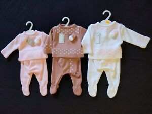 Beautiful baby girls knitted Spanish  3 piece outfit suit set with bonnet hat