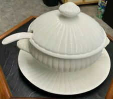 Italy Vintage White 4 Piece Soup Tureen With Ladle and Plate
