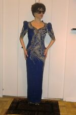 VTG VINNIE SLEEK FITTED BLUE & SILVER BEADS SILK LONG EVENING GOWN KEYHOLE S XS