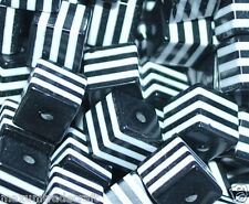 100pcs cube black and white striped resin beads 8mm by 1st class