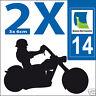 2 stickers autocollants style plaque immatriculation moto Département 14