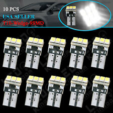 10X White T10 192 194 9SMD Wedge Dome Map License Plate LED Interior Light Bulbs