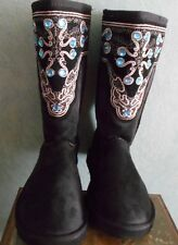 WESTERN DESIGN COLD WEATHER FLEESE LINED WINTER BOOT COWGIRL ACCESSORY SZ 8 BLK