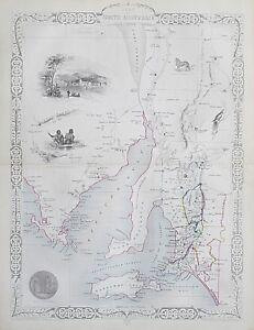 c1854 SOUTH AUSTRALIA Genuine Antique Map by Rapkin