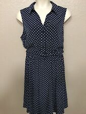 $110 Charter Club Women's Plus 20W NEW Blue/White Polka Dot V-Neck Belted Dress