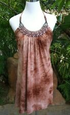 Audrey Ann SZ Large (8/10) Copper Fade Tie Dye Halter Dress w/ Beading & Stones