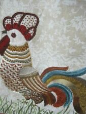 EMBROIDERIED BLACK ROOSTER RED BLACK CREAM GREEN PLAID WOVEN TABLE RUNNER 13X54