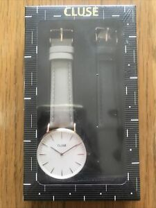 CLUSE WATCH Ladies Boheme x2 Leather Strap Watch, Grey/Black. CLA001