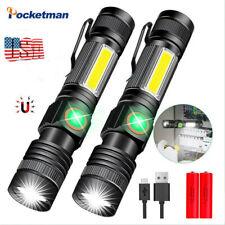 2Pcs 85000LM COB+T6 LED Flashlight Rechargeable 4Modes Magnet Zoom Torch 18650