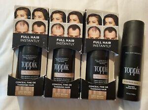 3 Toppik Hair Building Fibers LIGHT BROWN & 1 FiberHold Spray