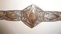 Vintage Bracelet Filigree  800 Silver & Gold Wash Middle Eastern Scenic Panel