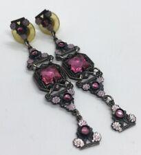 Vintage Earrings Silver Tone Rhinestone Pink Dangle