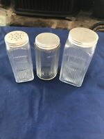 3 Three Hoosier ribbed & Paneled Spice Jars